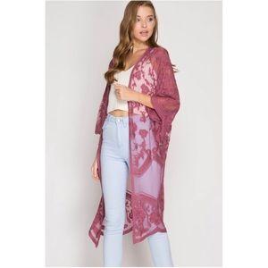 She + Sky Crochet Lace Midi Duster Kimono - Mauve